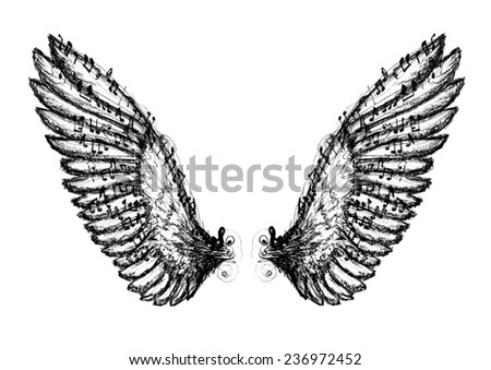 Chalk and ink hand drawn stylized black and white angel wings with notes.