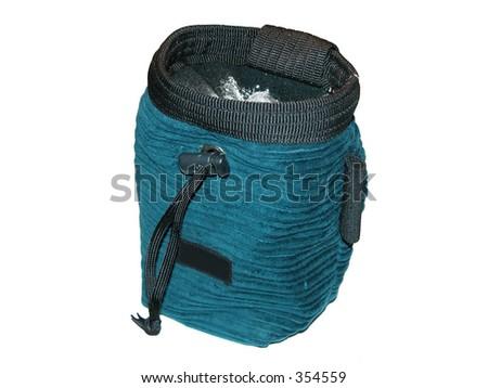 Chalk bag for rock climbing - stock photo