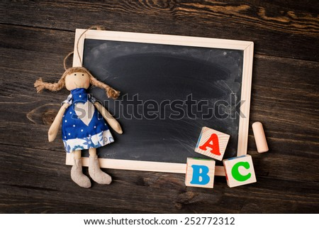 chalk board and letters ABC - stock photo
