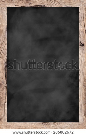 chalk board background textures with old vintage wooden frame ,blackboard concept , vertical black board style. - stock photo