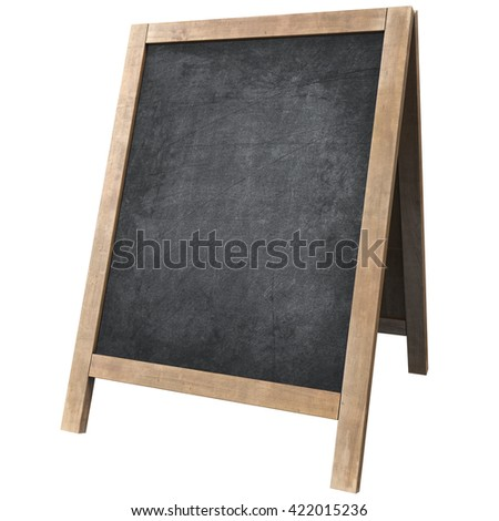 chalk board isolated on white background 3D illustration