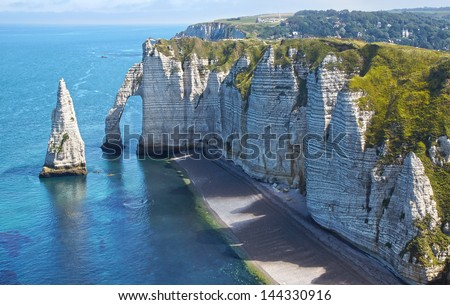 Chalk cliffs at Cote d'Albatre. Etretat, France - stock photo