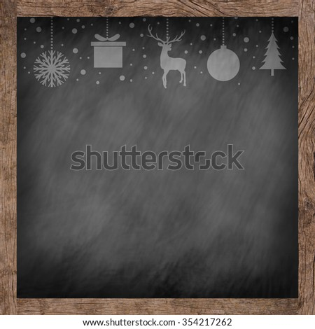 chalk draw silhouette symbol of xmas on old grunge blackboard with wood frame background:banner,decorate:merry Christmas festival and new year wallpaper concept.reindeer,tree,snowflakes,gift,ball,snow - stock photo