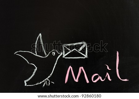 Chalk drawing - concept of mail service - stock photo
