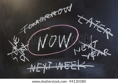 Chalk drawing - Do it now - stock photo