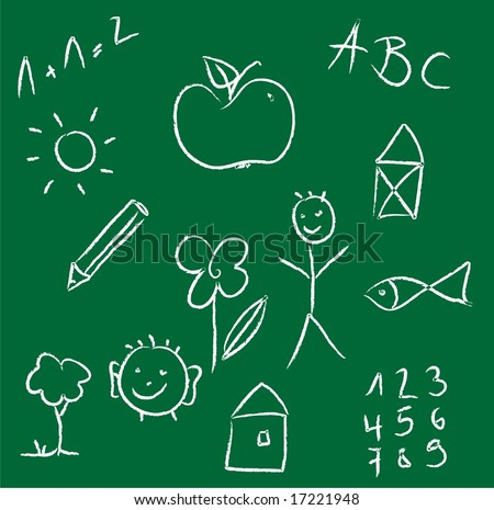 Chalk drawing of a child on green chalkboard - stock photo