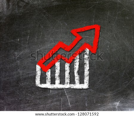 Chalk drawing of an increase in the stock market. The economic concept of depression. - stock photo
