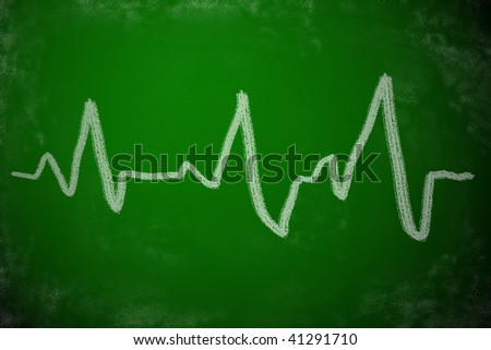 Chalk drawing of heartbeat. EKG medical concept. - stock photo