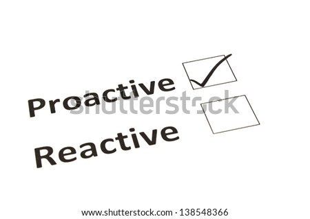 Chalk drawing - Proactive or Reactive concept - stock photo