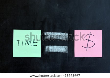 Chalk drawing - Time is money - stock photo