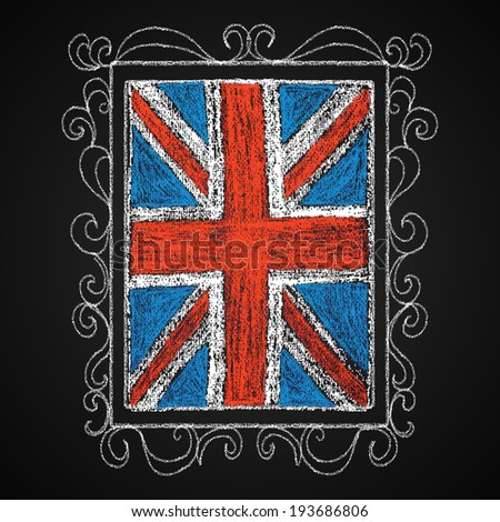 Chalk on board. British flag in frame. - stock photo
