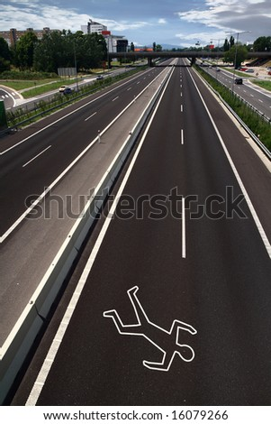 Chalk outline of a road accident victim - stock photo
