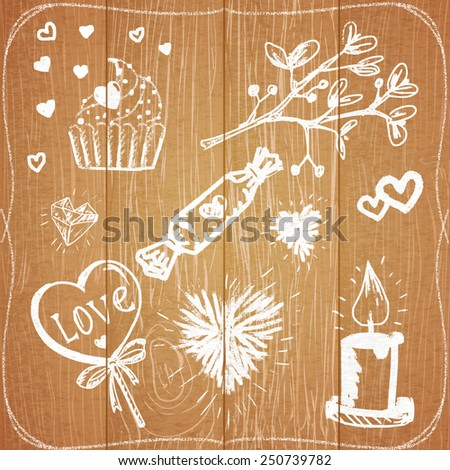 Chalk painted illustration with elements: hearts, candle, candies and plant on wooden background. - stock photo