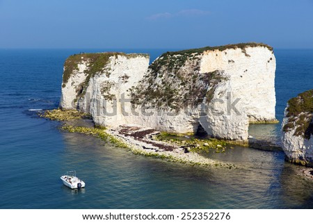 Chalk rock formations Old Harry Rocks Isle of Purbeck in Dorset south England UK the most easterly point of the Jurassic Coast like the Needles isle of Wight - stock photo