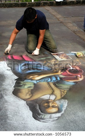 Chalk Sidewalk Art - stock photo