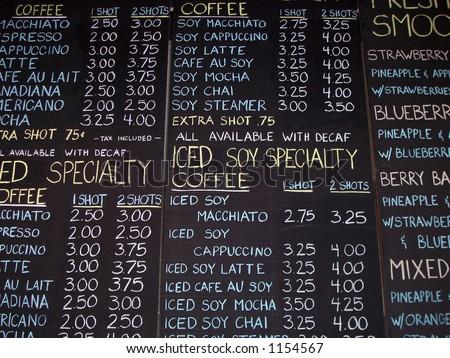 Chalkboard Coffee Sign - stock photo