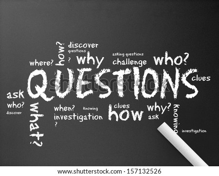 Chalkboard - Questions - stock photo