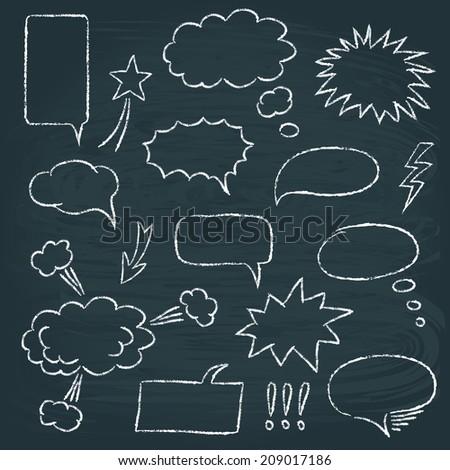 Chalkboard set of speech bubbles in comics style - stock photo