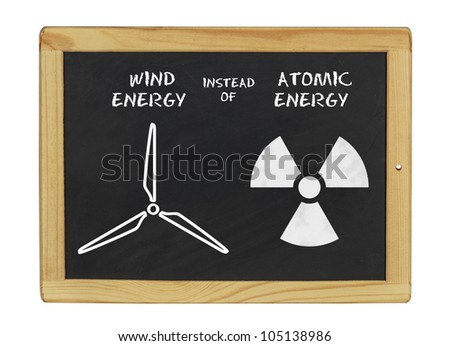 chalkboard wind energy instead of atomic energy