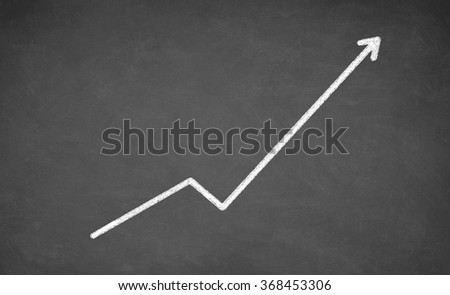 Chalkboard with finance business graph showing upward trend