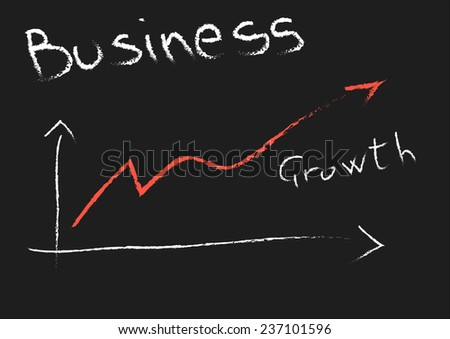 chalkboard with hand-drawn diagram growth - stock photo