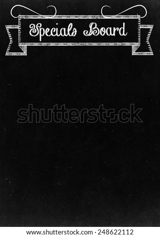 "Chalkboard with ""Specials Board"" Hand Drawn in Chalk with copy space for your Text - stock photo"