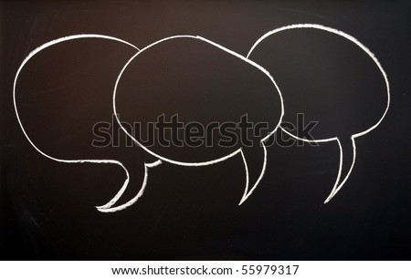 chalkboard with speech bubble  and copyspace for text message