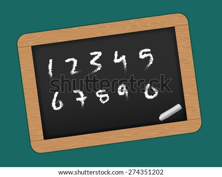 Chalkboard with wooden frame. Drawing. Back to school, Numbers - stock photo
