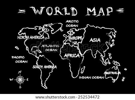 Chalkboard world map - stock photo