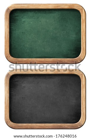 chalkboards or blackboards set isolated on white with clipping path included - stock photo