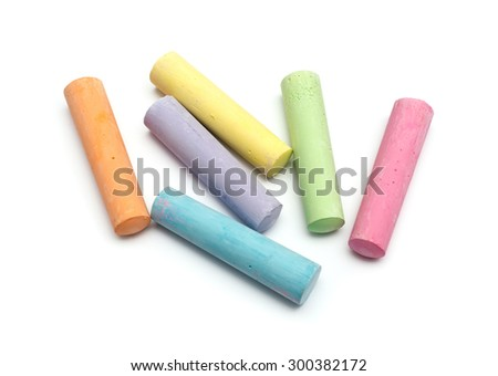 chalks in a variety of colors arranged on a white background