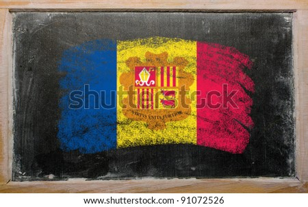 Chalky andoran flag painted with color chalk on old blackboard - stock photo
