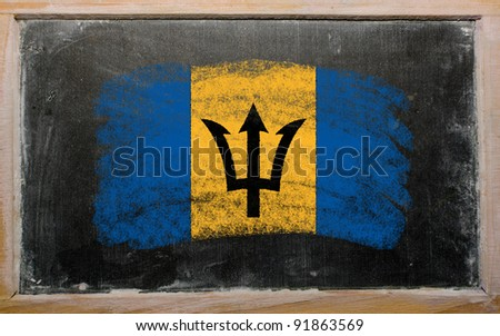 Chalky barbados flag painted with color chalk on old blackboard - stock photo