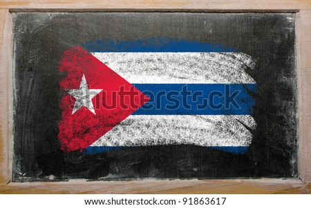 Chalky cuban flag painted with color chalk on old blackboard - stock photo
