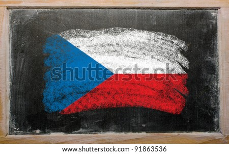 Chalky czech republic flag painted with color chalk on old blackboard - stock photo