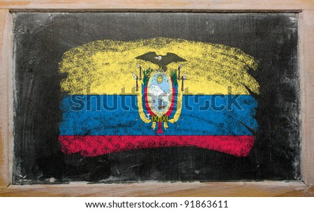 Chalky ecuadorian flag painted with color chalk on old blackboard - stock photo