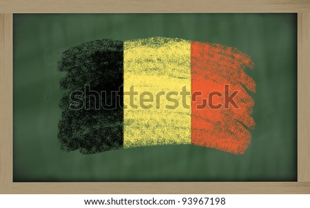 Chalky national flag of belgium painted with color chalk on blackboard illustration