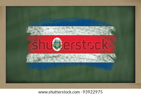 Chalky national flag of costarica painted with color chalk on blackboard illustration - stock photo