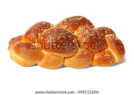 Challah bun isolated on white background - stock photo