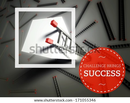 Challenge brings success with top of ladder, business concept - stock photo