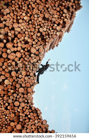 Challenge - business man on his way to the top - stock photo