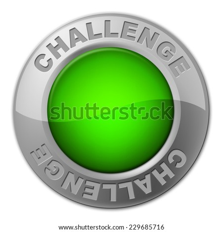 Challenge Button Representing Overcome Obstacles And Challenges - stock photo