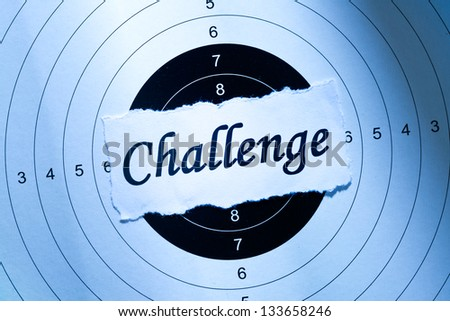 Challenge concept, word on target paper - stock photo