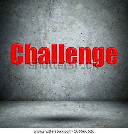 Challenge on concrete wall - stock photo