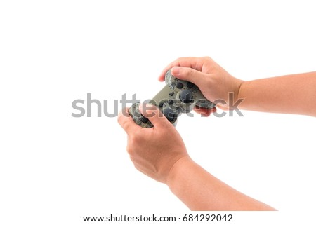 challenge play game with a joystick isolated on white