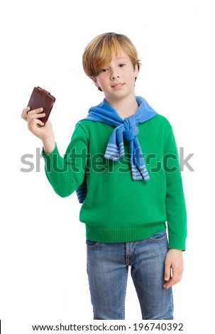 Challenger boy holding a leather wallet - stock photo