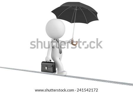 Challenges and Risk taking.  Dude the business man walking on a wire. Isolated. - stock photo