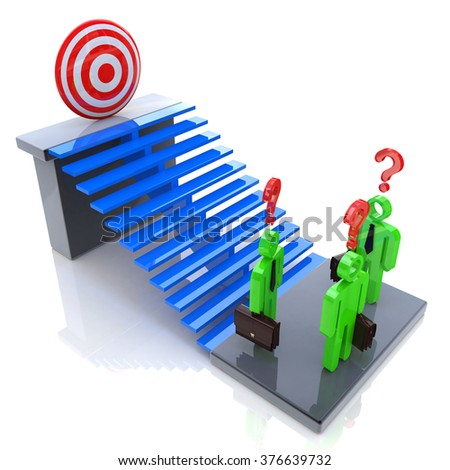 Challenges to achieving the goal in the design of business-related information and problems - stock photo
