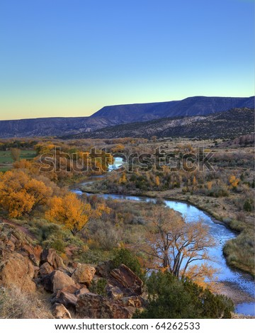 Chama River near Ghost Ranch, Abiquiu, New Mexico - stock photo