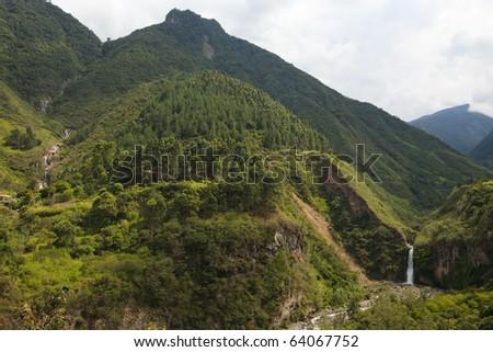 Chamana and Ulba waterfalls near the Banos city, Ecuador. - stock photo